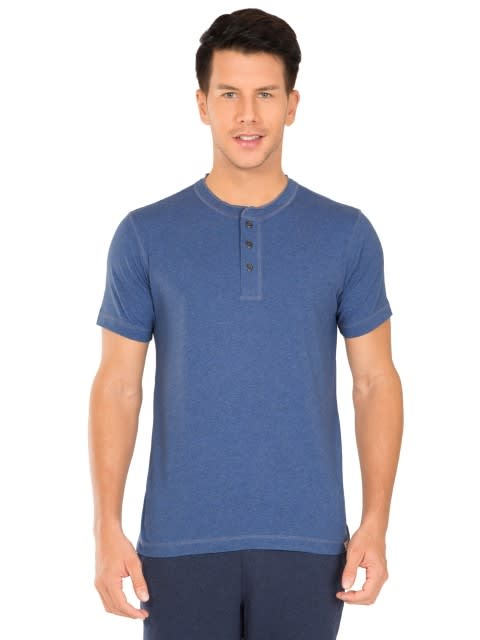 Light Denim Henley Half Sleeve T-Shirt