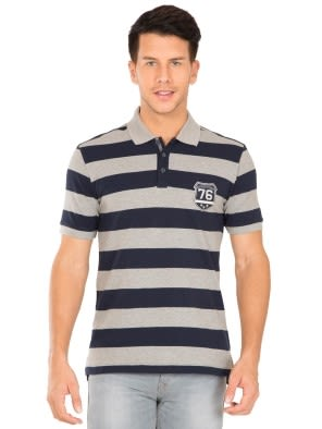 Grey Melange & Navy Half Sleeve POLO T-Shirt