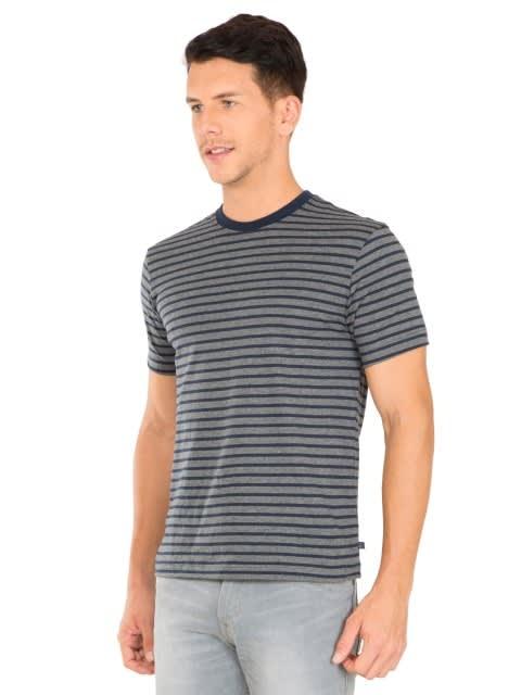 Navy & Charcoal Melange Crew neck T-shirt