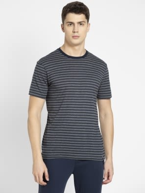 Navy & Charcoal Melange Crew neck T-shirt