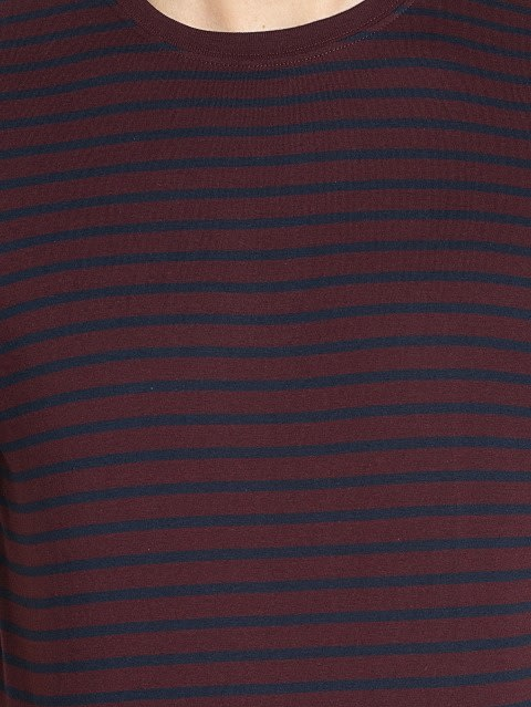 Navy & Mauve Wine Crew neck T-shirt