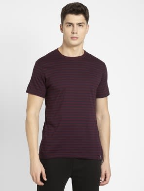 Navy & Mauve Wine Crew neck T-shirt