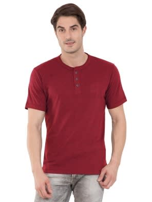 Red Melange Henley Half Sleeve T-Shirt