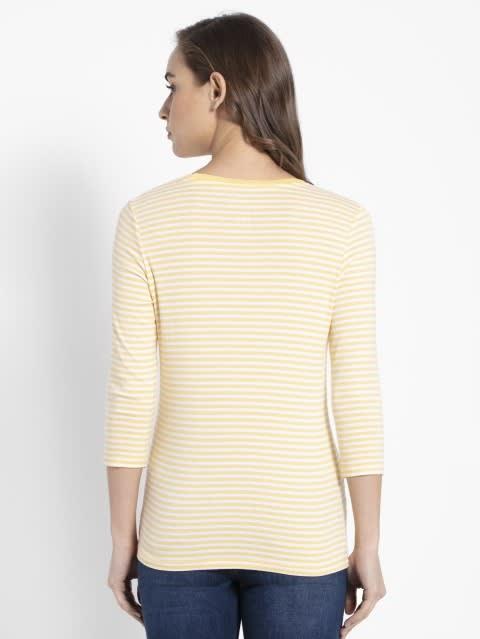 Banana Cream & White Yarn Dyed Stripe 3/4 Sleeve T-Shirt