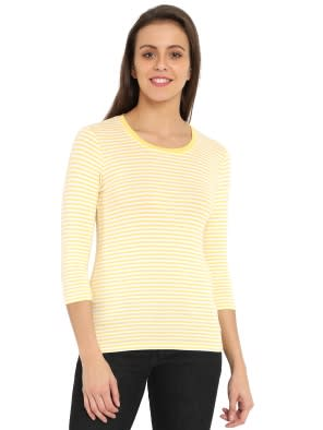 Banana Cream & White Yarn Dyed Stripe 3/4 Sleeve T-Shirt