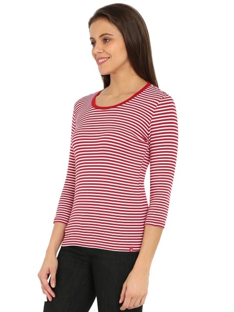 Jester Red & White Yarn Dyed Stripe 3/4 Sleeve T-Shirt