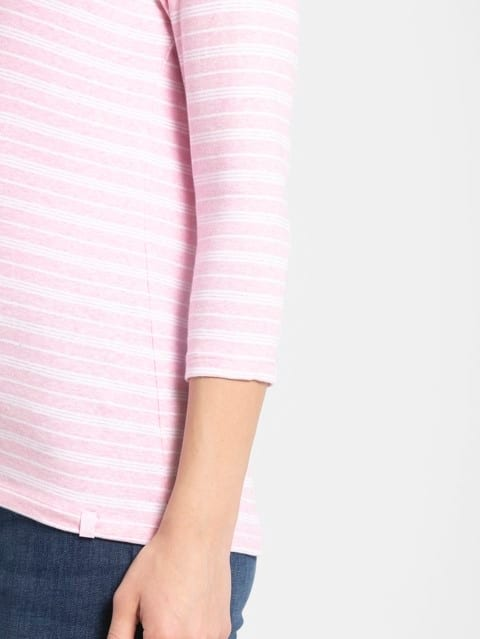 Pink Lady Melange & White Yarn Dyed Stripe 3/4 Sleeve T-Shirt