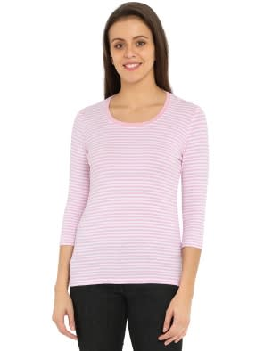 Pink Lady Melange & White Yarn Dyed Stripe 3/4 Sleeve T-Shirt