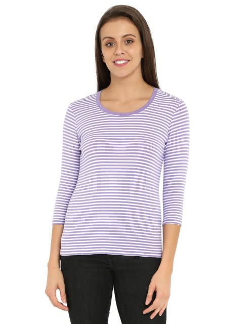 Paisley Purple & White Yarn Dyed Stripe 3/4 Sleeve T-Shirt