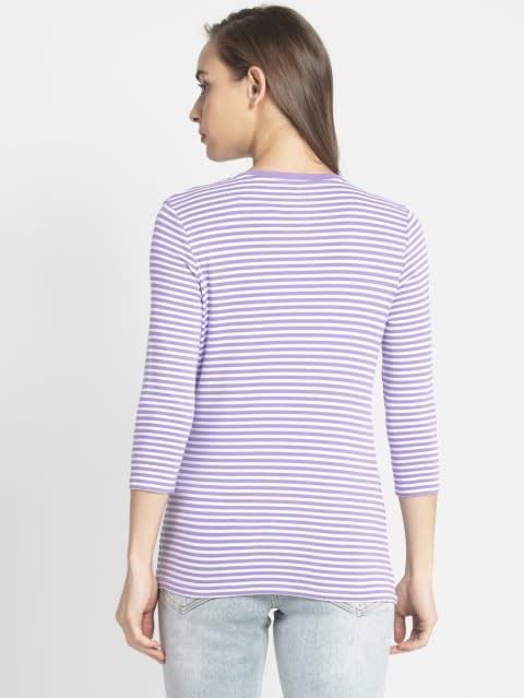 Paisley Purple & White Yarn Dyed Stripe 3/4 Sleeve T-Shirt