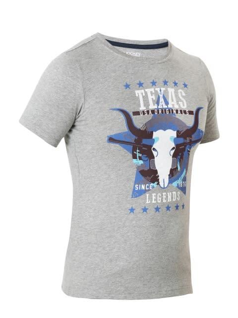 Grey Melange Prints Boys Printed T-Shirt