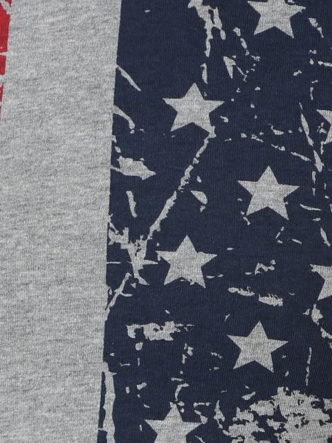 Grey Melange Print Boys Printed T-Shirt