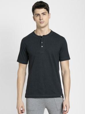 Black Melange Henley Half Sleeve T-Shirt