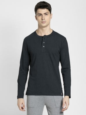 Black Melange Long Sleeve Henley T-Shirt