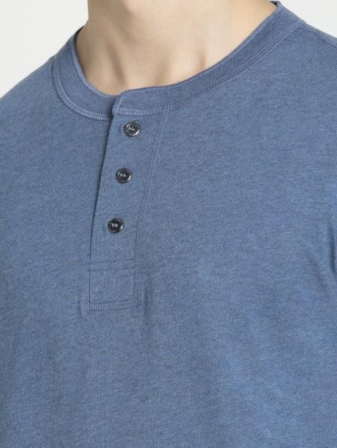 Light Denim Melange Long Sleeve Henley T-Shirt