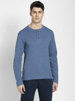 Light Denim Melange Long Sleeve Henley T-Shirt