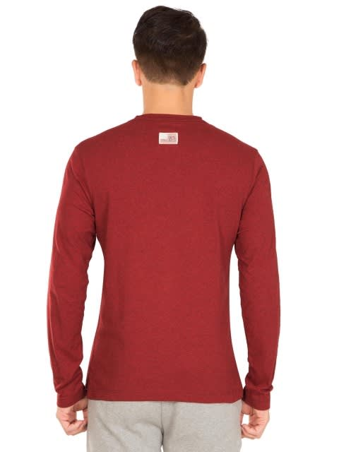 Red Melange Long Sleeve Henley T-Shirt