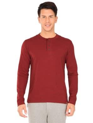 Red Melange Long Sleeve Henley T-Shirt