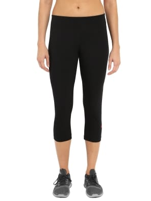 Black & Ruby Knit Sports Capri