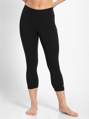 Black & Ruby Knit Sports Capri