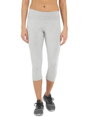 Light Grey Melange & Purple Glory Knit Sports Capri
