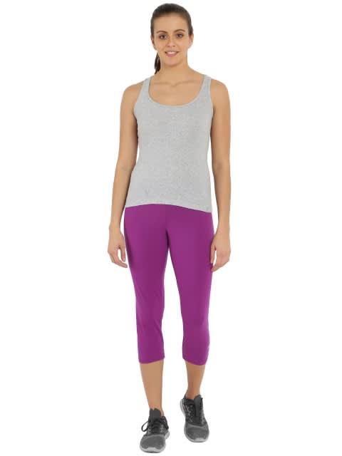 Purple Glory & Light Grey Melange Knit Sports Capri