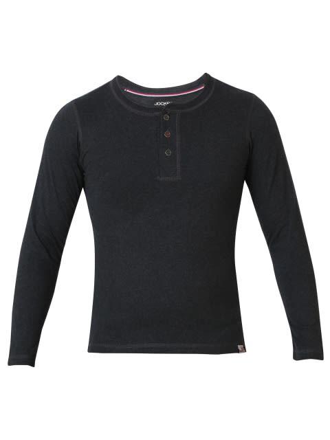 Black Melange Boys Henley T-Shirt Long Sleeve