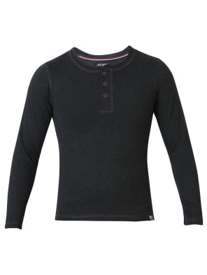 Black Melange Boys Henley T-Shirt Long Sleeve