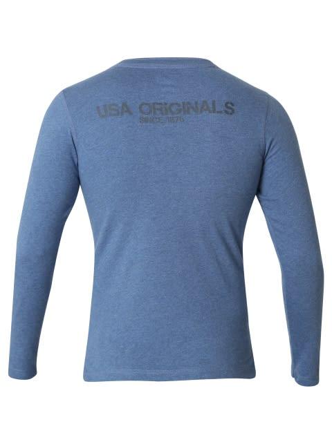 Light Denim Melange Boys Henley T-Shirt Long Sleeve