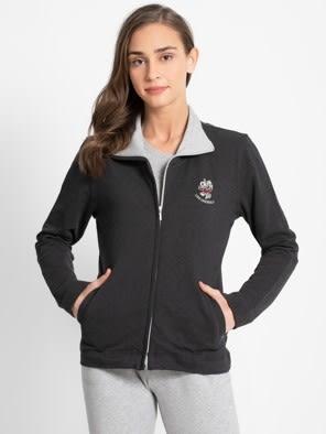 Black Melange Fastening Jacket