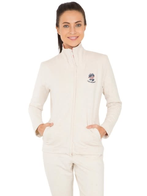 Cream Melange Fastening Jacket