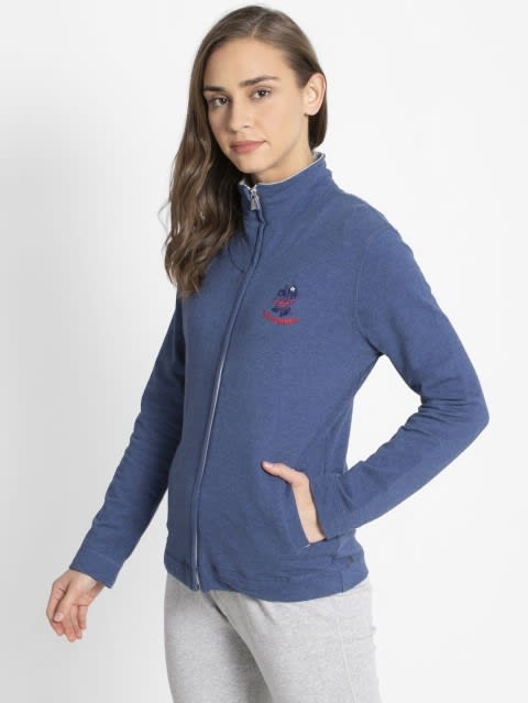 Denim Blue Melange Fastening Jacket