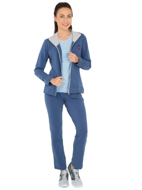 Denim Blue Melange Fastening Jacket