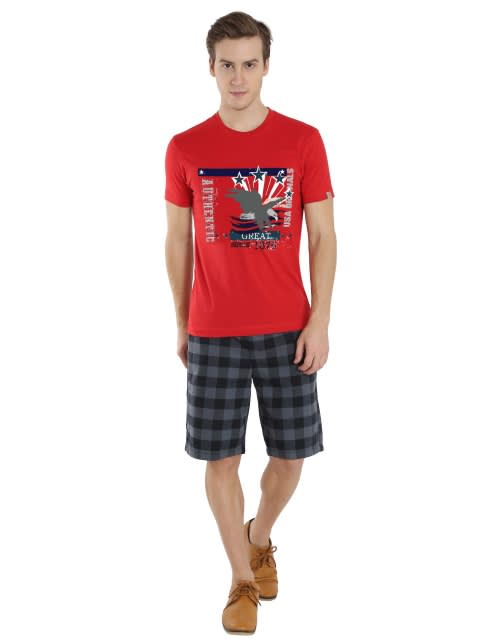 Worldly Red Print 03 Crew neck Graphic T-shirt