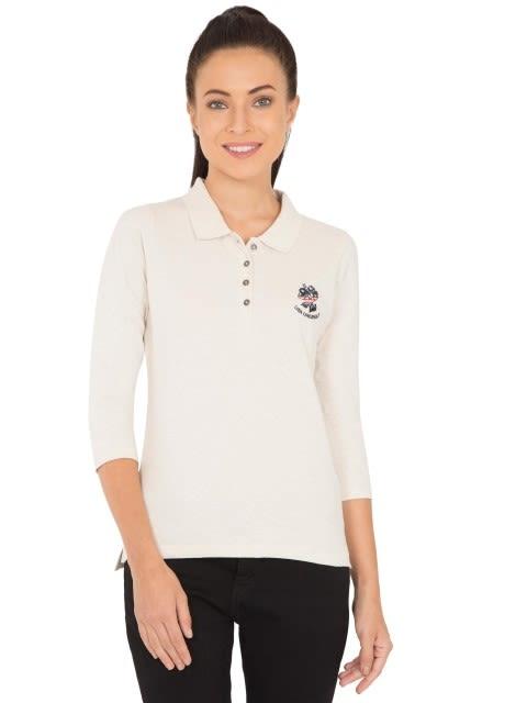 Cream Melange Polo Shirt