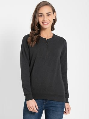 Black Melange Sweatshirt