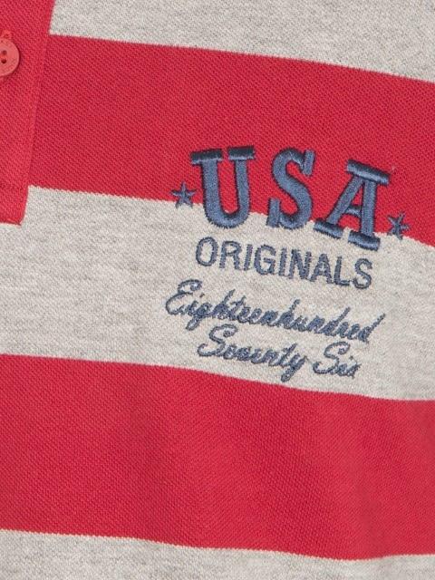 Deep Red & Grey Melange Polo Shirt