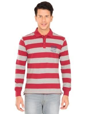 Deep Red & Grey Melange Polo Shirt