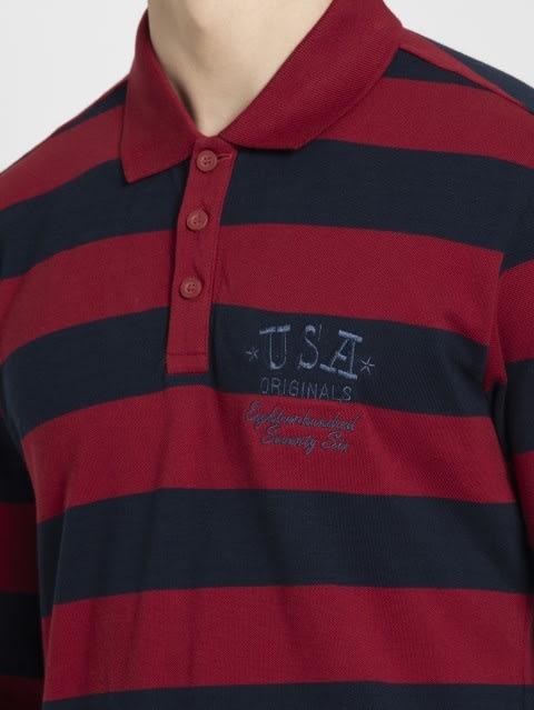 Deep Red & Navy Polo Shirt