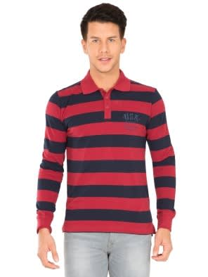 Deep Red & Navy Polo Shirt