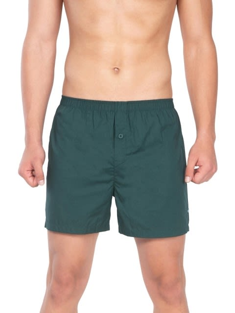 Bottle Green & Check6 Boxer Shorts Pack of 2