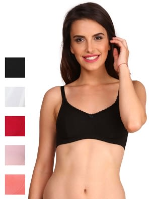 Multi Color Slim Fit Bra Combo - Pack of 5