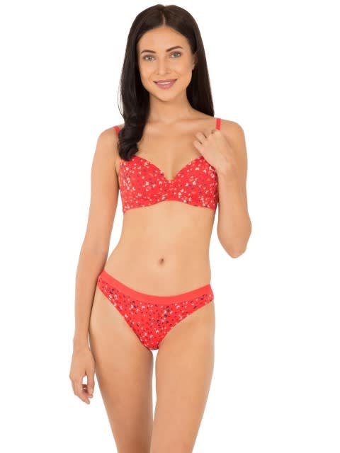 Hibiscus Red Print146 Padded Wired Bra