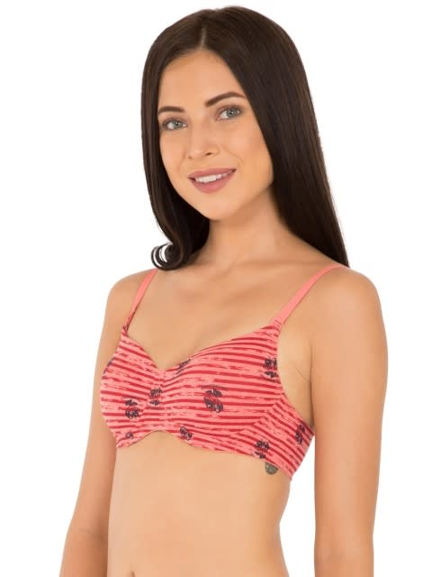 Red Melange Print154 Padded Wire free Bra
