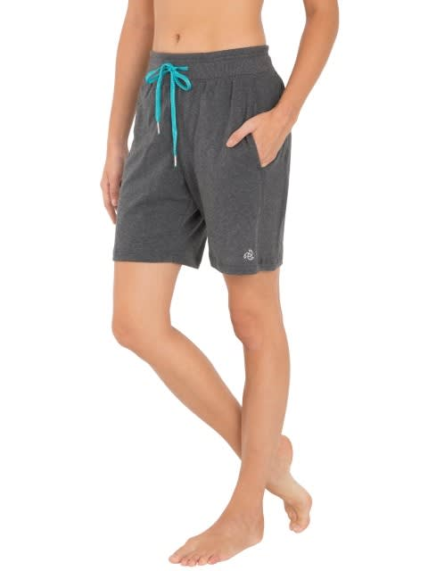 Charcoal Melange & Teal Straight fit Shorts