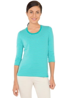 Paradise Teal & Aqua Splash Yarn Dyed Stripe 3/4 Sleeve T-Shirt