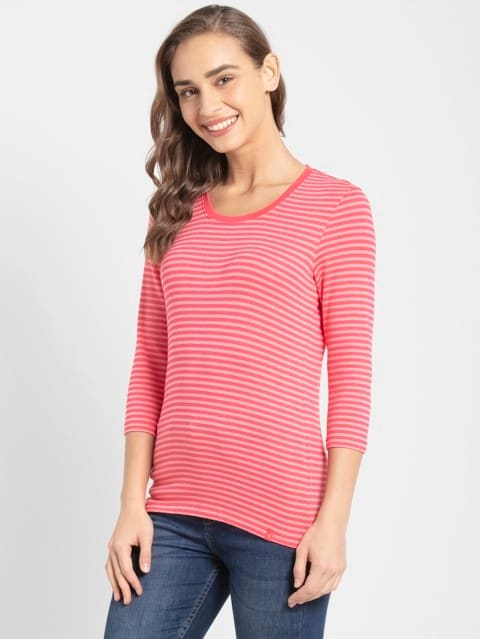 Rouge Red & Strawberry Pink Yarn Dyed Stripe 3/4 Sleeve T-Shirt