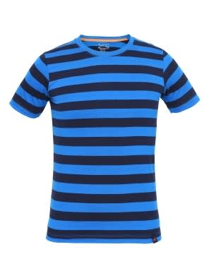 Neon Blue & Navy Boys Striped T-Shirt