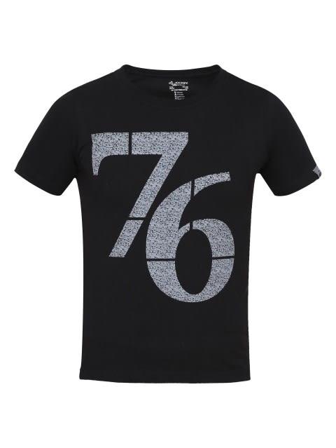 Black Print 24 Boys Printed T-Shirt