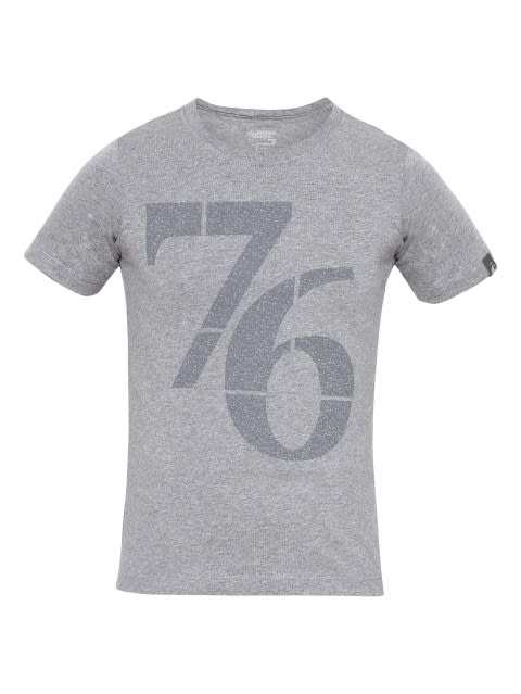 Grey Melange Print 24 Boys Printed T-Shirt